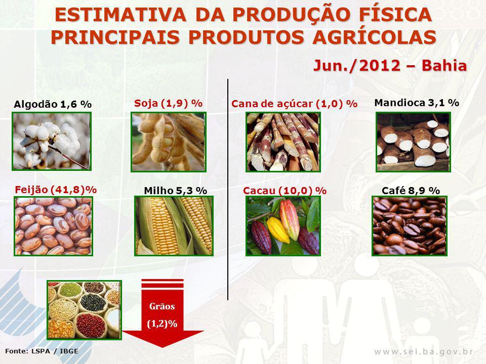 ESTIMATIVA DA PRODUÇÃO FÍSICA PRINCIPAIS PRODUTOS AGRÍCOLAS Jun./2012 – Bahia Fonte: LSPA / IBGE Algodão 1,6 % Soja (1,9) % Cana de açúcar (1,0) % Mandioca 3,1 % Feijão (41,8)% Milho 5,3 %Cacau (10,0) %Café 8,9 % Grãos (1,2)%