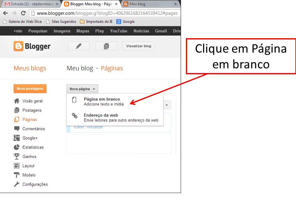 Clique em Página em branco