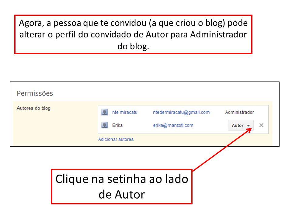 Clique na setinha ao lado de Autor Agora, a pessoa que te convidou (a que criou o blog) pode alterar o perfil do convidado de Autor para Administrador do blog.