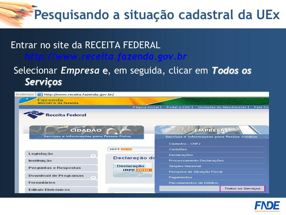 Pesquisando a situação cadastral da UEx Entrar no site da RECEITA FEDERAL http://www.receita.fazenda.gov.br eTodos os Serviços Selecionar Empresa e, e