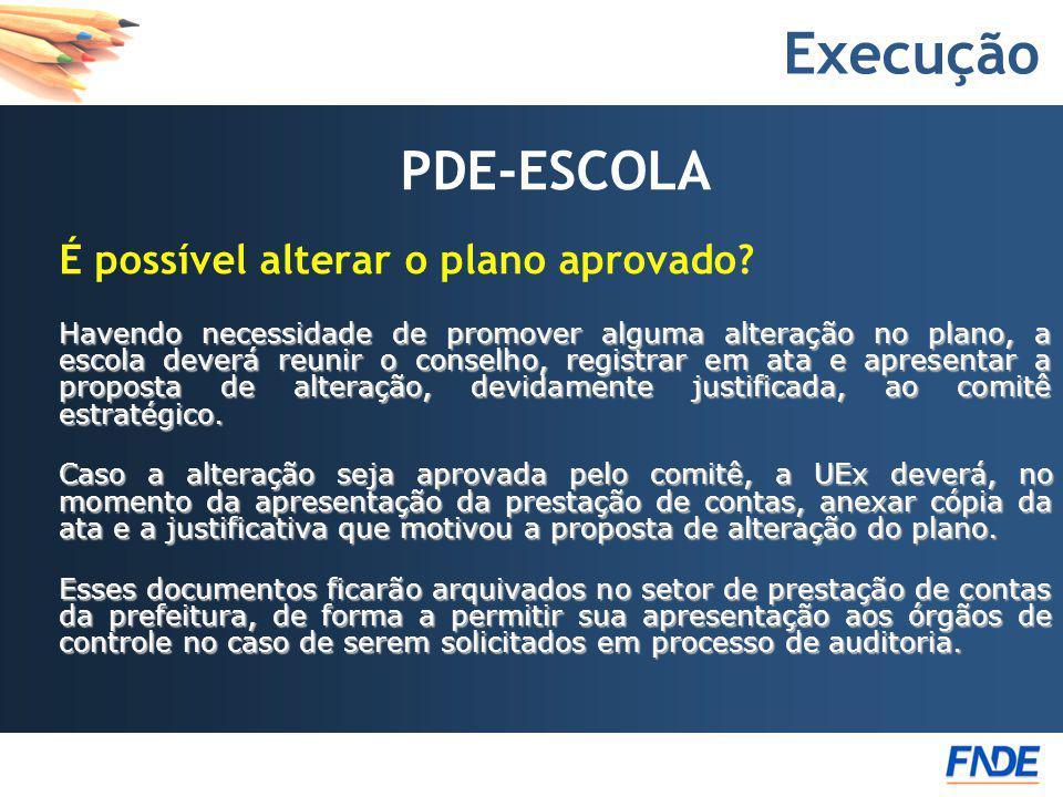 Execução PDE-ESCOLA É possível alterar o plano aprovado? Havendo necessidade de promover alguma alteração no plano, a escola deverá reunir o conselho,