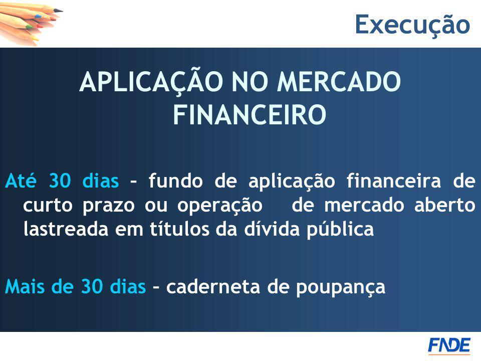 Execução APLICAÇÃO NO MERCADO FINANCEIRO Até 30 dias – fundo de aplicação financeira de curto prazo ou operação de mercado aberto lastreada em títulos