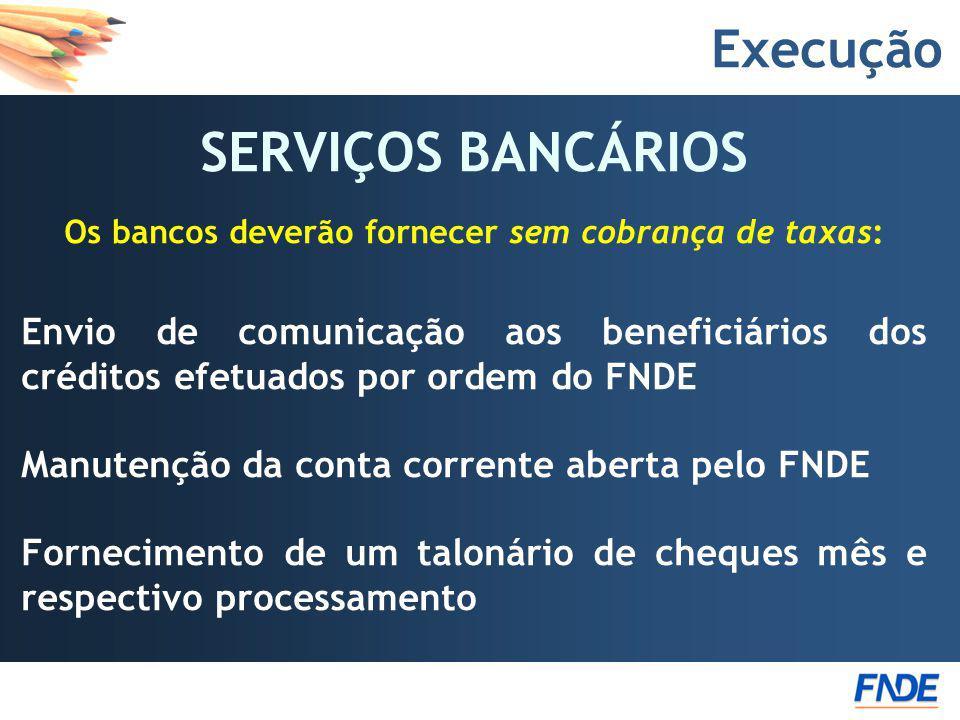 Execução SERVIÇOS BANCÁRIOS Os bancos deverão fornecer sem cobrança de taxas: Envio de comunicação aos beneficiários dos créditos efetuados por ordem