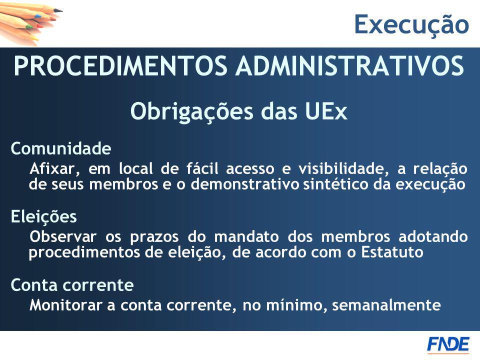 PROCEDIMENTOS ADMINISTRATIVOS Obrigações das UEx Comunidade Afixar, em local de fácil acesso e visibilidade, a relação de seus membros e o demonstrati