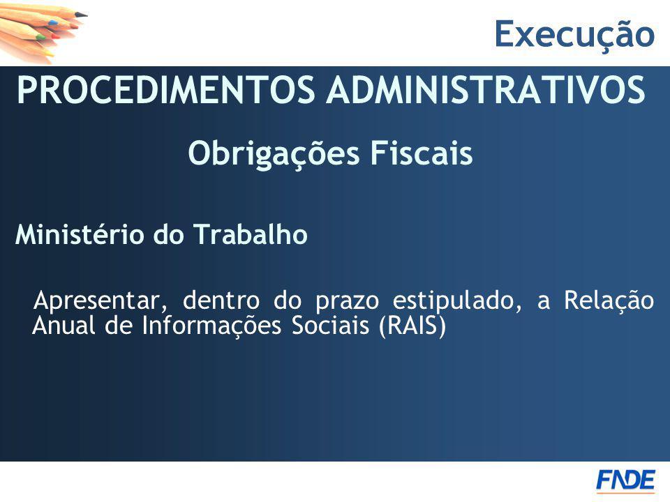 PROCEDIMENTOS ADMINISTRATIVOS Obrigações Fiscais Ministério do Trabalho Apresentar, dentro do prazo estipulado, a Relação Anual de Informações Sociais