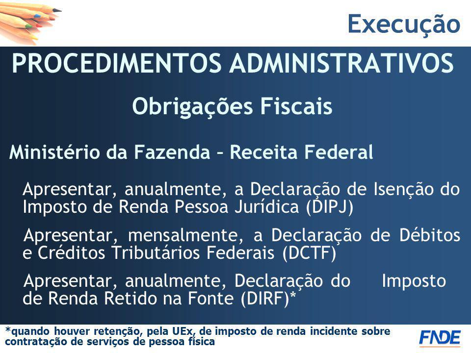 Execução PROCEDIMENTOS ADMINISTRATIVOS Obrigações Fiscais Ministério da Fazenda – Receita Federal Apresentar, anualmente, a Declaração de Isenção do I