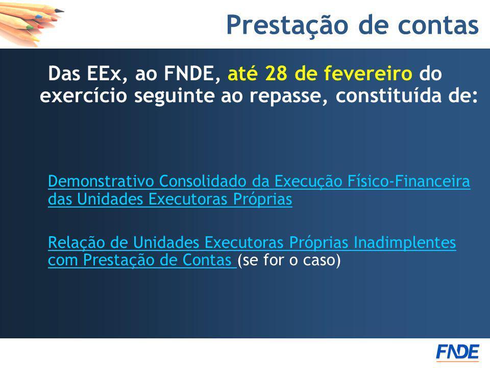 Prestação de contas Das EEx, ao FNDE, até 28 de fevereiro do exercício seguinte ao repasse, constituída de: Demonstrativo Consolidado da Execução Físi