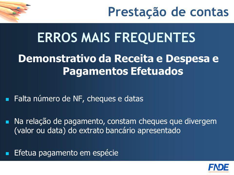 Prestação de contas Demonstrativo da Receita e Despesa e Pagamentos Efetuados Falta número de NF, cheques e datas Na relação de pagamento, constam che