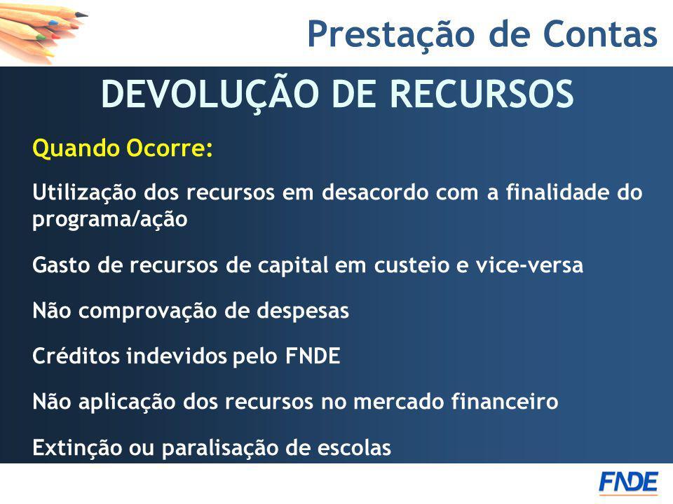 Prestação de Contas DEVOLUÇÃO DE RECURSOS Quando Ocorre: Utilização dos recursos em desacordo com a finalidade do programa/ação Gasto de recursos de c