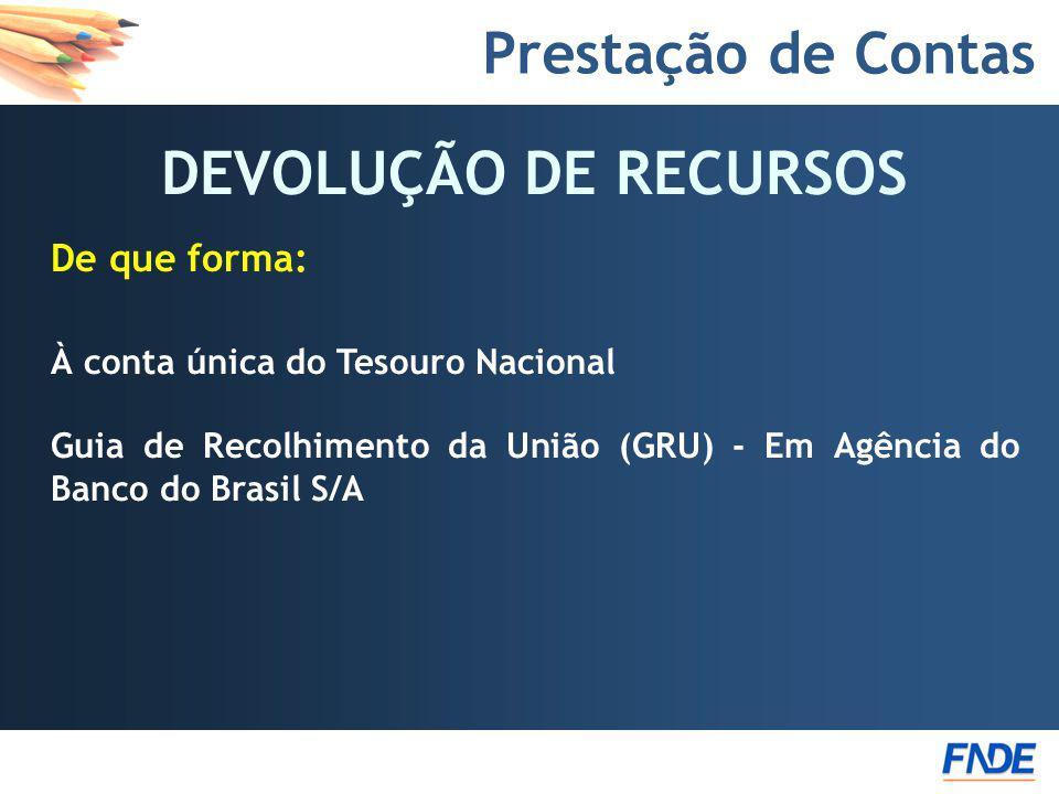 Prestação de Contas DEVOLUÇÃO DE RECURSOS De que forma: À conta única do Tesouro Nacional Guia de Recolhimento da União (GRU) - Em Agência do Banco do