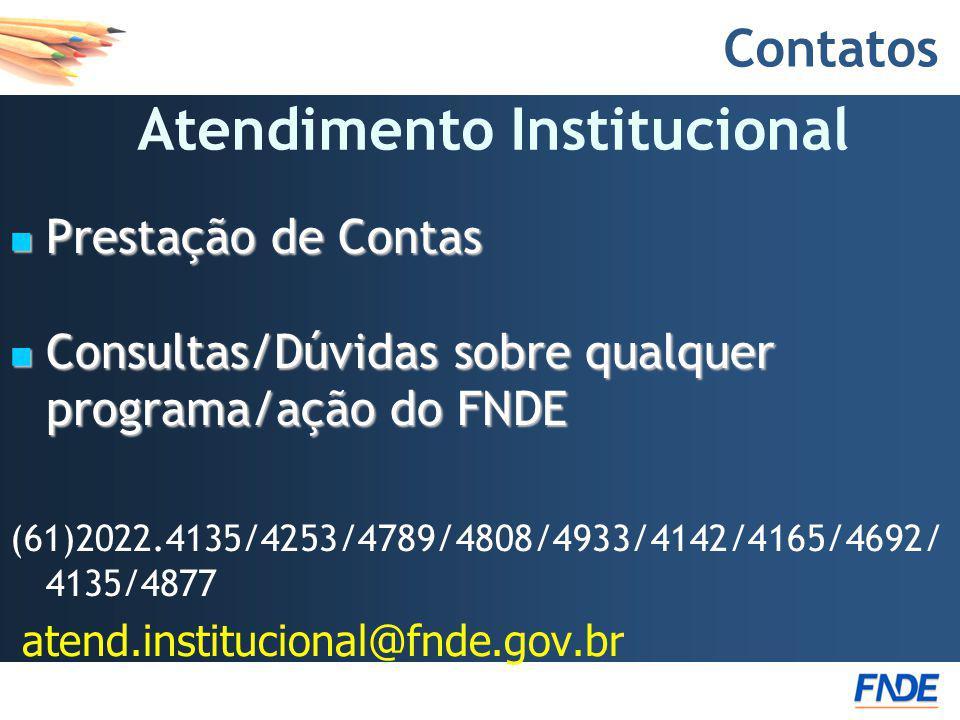 Contatos Prestação de Contas Prestação de Contas Consultas/Dúvidas sobre qualquer programa/ação do FNDE Consultas/Dúvidas sobre qualquer programa/ação