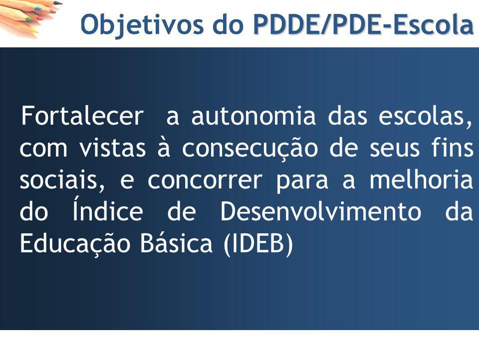 PDDE/PDE-Escola Objetivos do PDDE/PDE-Escola Reforço da autonomia gerencial e a participação social das unidades escolares e contribuir para a melhori