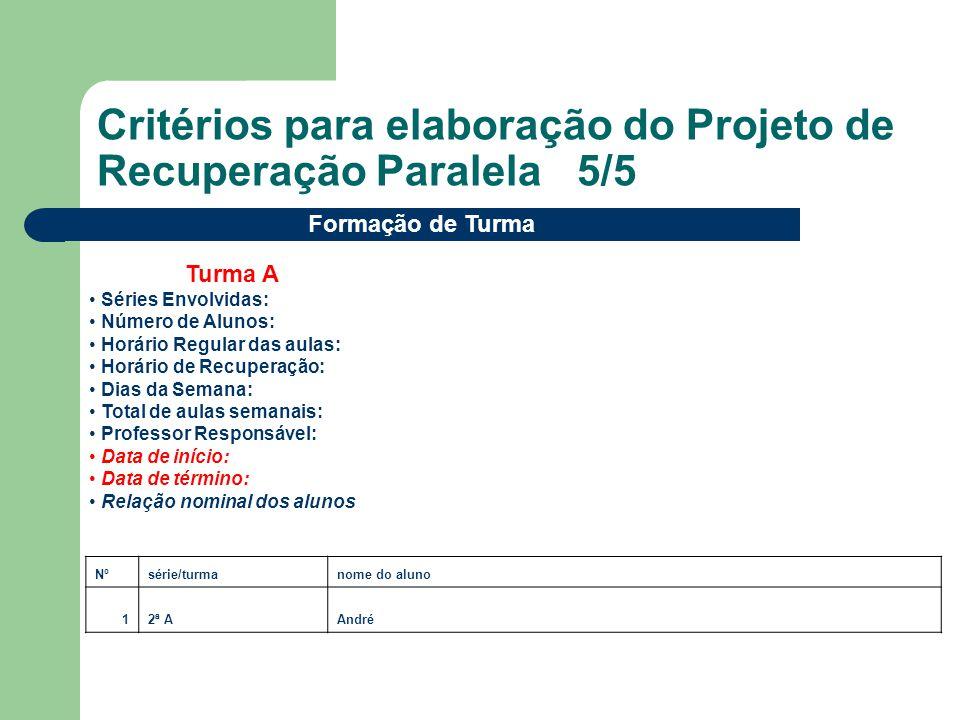 Critérios para elaboração do Projeto de Recuperação Paralela 5/5 Nºsérie/turmanome do aluno 12ª AAndré Formação de Turma Turma A Séries Envolvidas: Nú