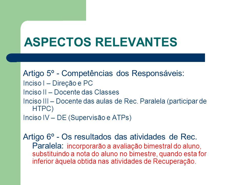 ASPECTOS RELEVANTES Artigo 5º - Competências dos Responsáveis: Inciso I – Direção e PC Inciso II – Docente das Classes Inciso III – Docente das aulas