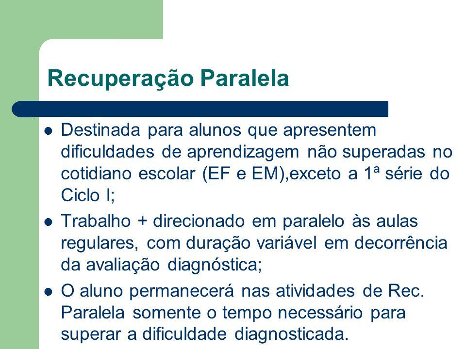 Recuperação Paralela Destinada para alunos que apresentem dificuldades de aprendizagem não superadas no cotidiano escolar (EF e EM),exceto a 1ª série