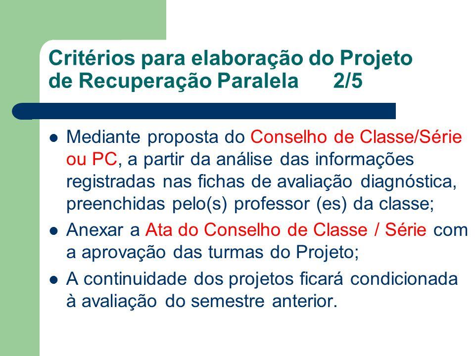 Critérios para elaboração do Projeto de Recuperação Paralela2/5 Mediante proposta do Conselho de Classe/Série ou PC, a partir da análise das informaçõ