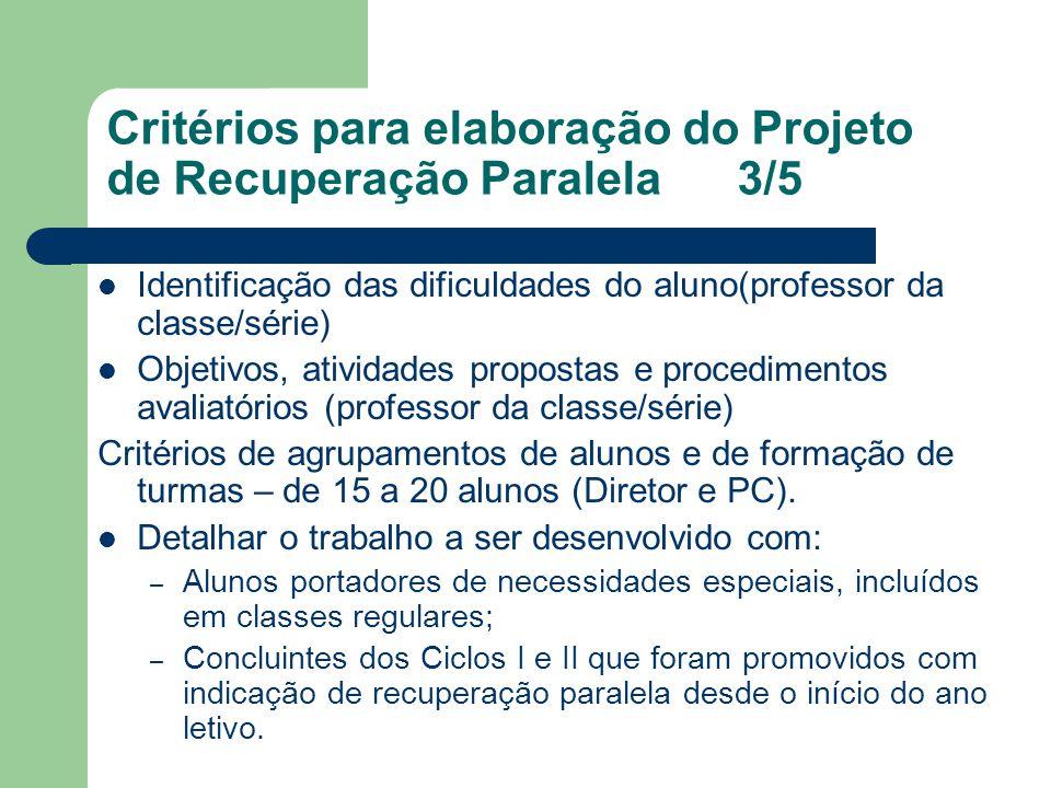 Critérios para elaboração do Projeto de Recuperação Paralela3/5 Identificação das dificuldades do aluno(professor da classe/série) Objetivos, atividad
