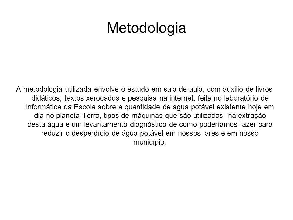 Metodologia A metodologia utilizada envolve o estudo em sala de aula, com auxilio de livros didáticos, textos xerocados e pesquisa na internet, feita