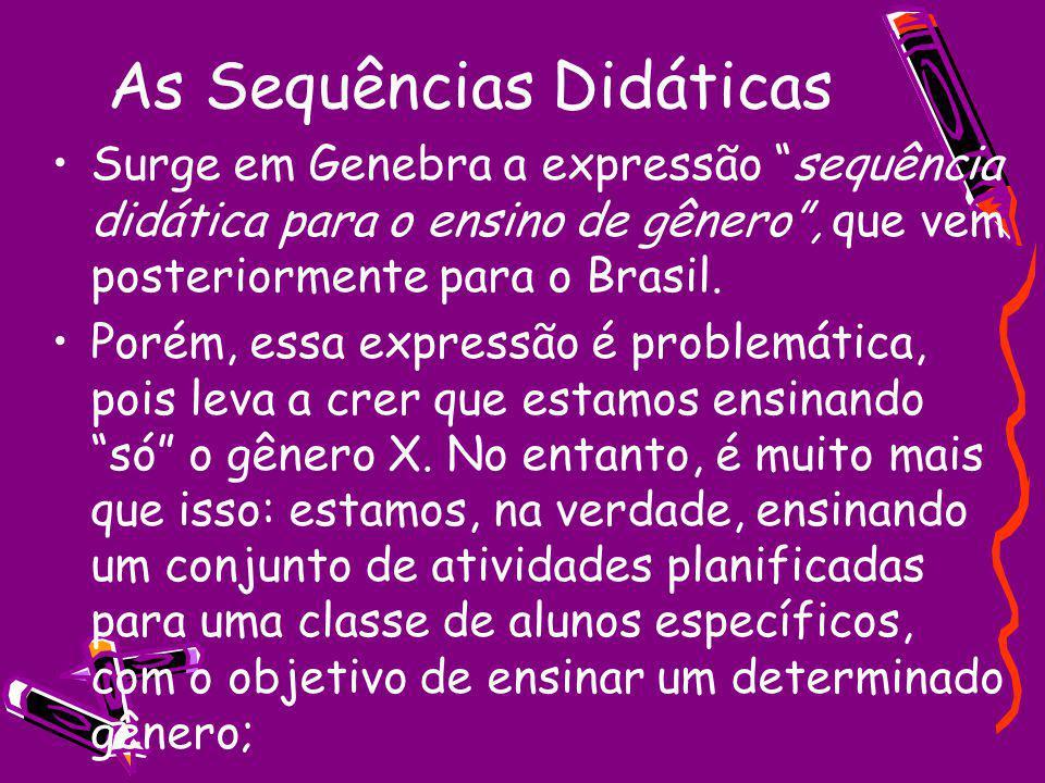 As Sequências Didáticas Surge em Genebra a expressão sequência didática para o ensino de gênero, que vem posteriormente para o Brasil. Porém, essa exp