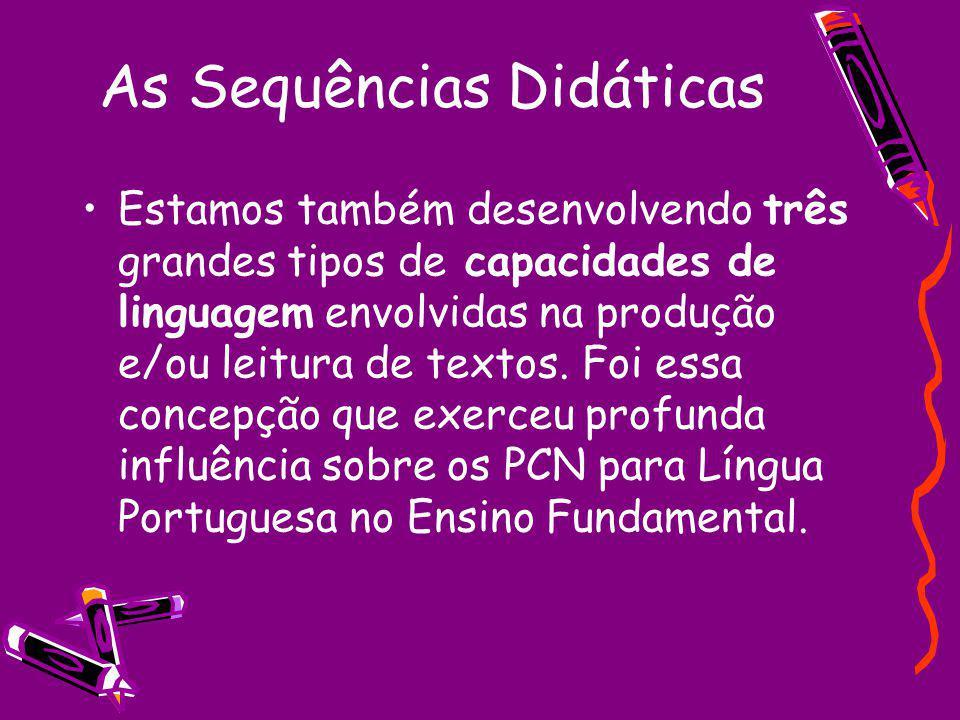 As Sequências Didáticas Estamos também desenvolvendo três grandes tipos de capacidades de linguagem envolvidas na produção e/ou leitura de textos. Foi