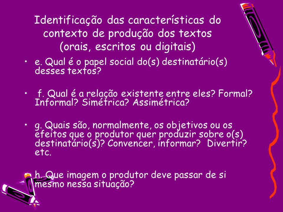 Identificação das características do contexto de produção dos textos (orais, escritos ou digitais) e. Qual é o papel social do(s) destinatário(s) dess