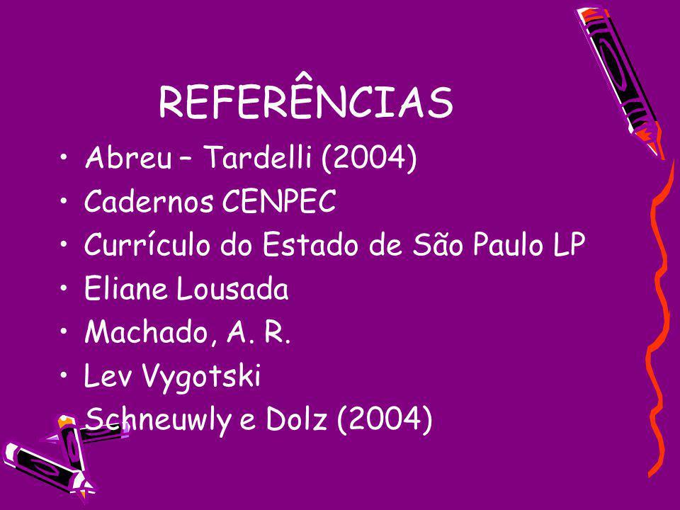 REFERÊNCIAS Abreu – Tardelli (2004) Cadernos CENPEC Currículo do Estado de São Paulo LP Eliane Lousada Machado, A. R. Lev Vygotski Schneuwly e Dolz (2