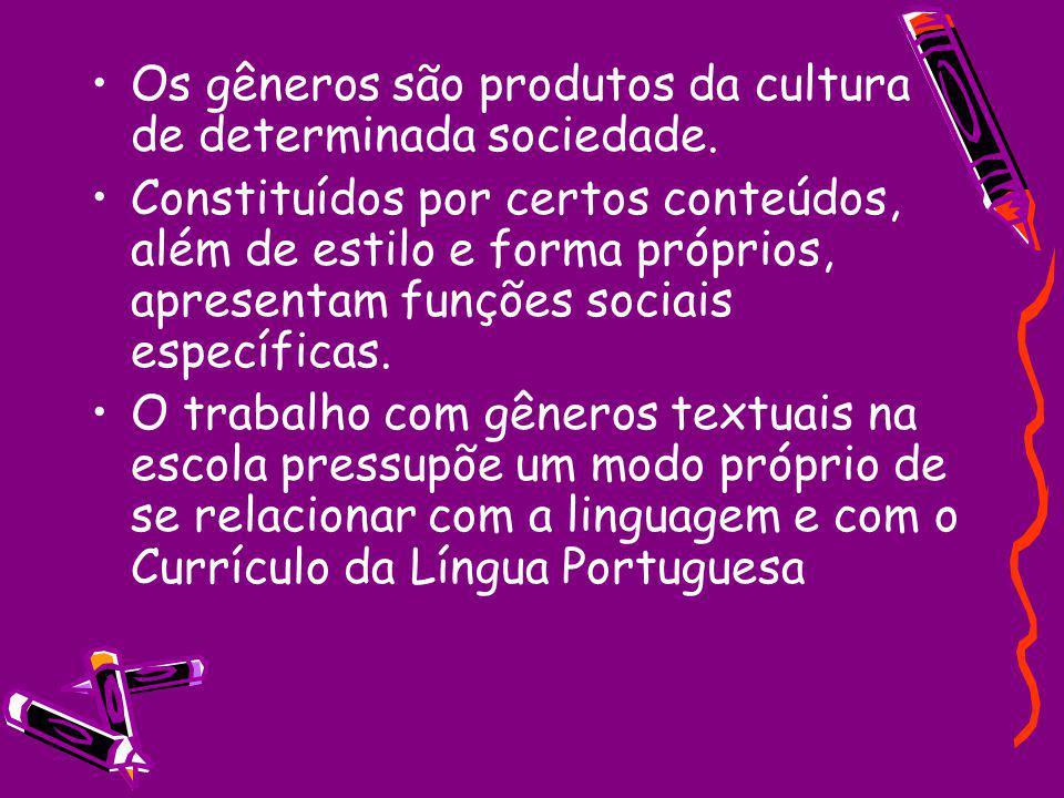 Os gêneros são produtos da cultura de determinada sociedade. Constituídos por certos conteúdos, além de estilo e forma próprios, apresentam funções so
