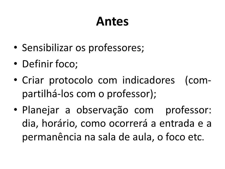 Antes Sensibilizar os professores; Definir foco; Criar protocolo com indicadores (com- partilhá-los com o professor); Planejar a observação com profes