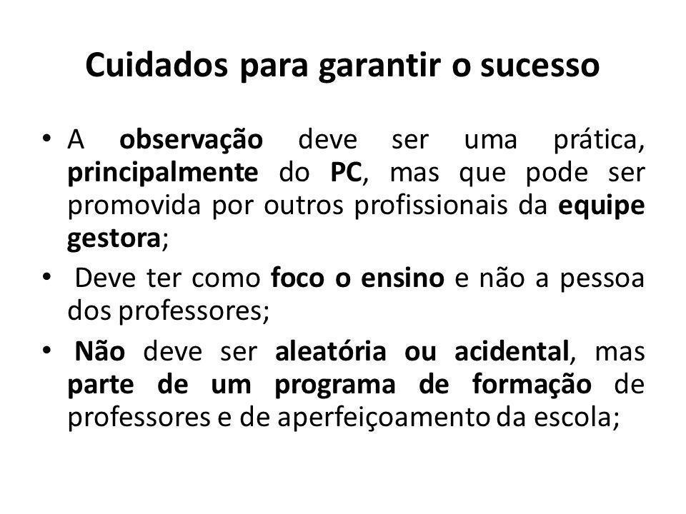 Cuidados para garantir o sucesso A observação deve ser uma prática, principalmente do PC, mas que pode ser promovida por outros profissionais da equip