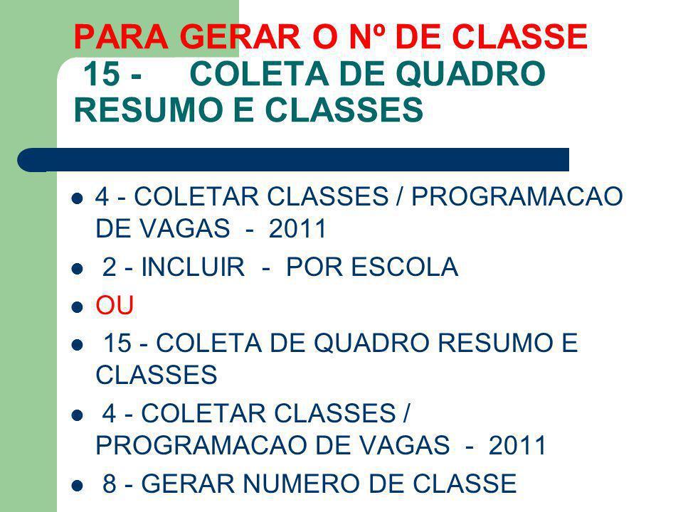 PARA GERAR O Nº DE CLASSE 15 - COLETA DE QUADRO RESUMO E CLASSES 4 - COLETAR CLASSES / PROGRAMACAO DE VAGAS - 2011 2 - INCLUIR - POR ESCOLA OU 15 - CO