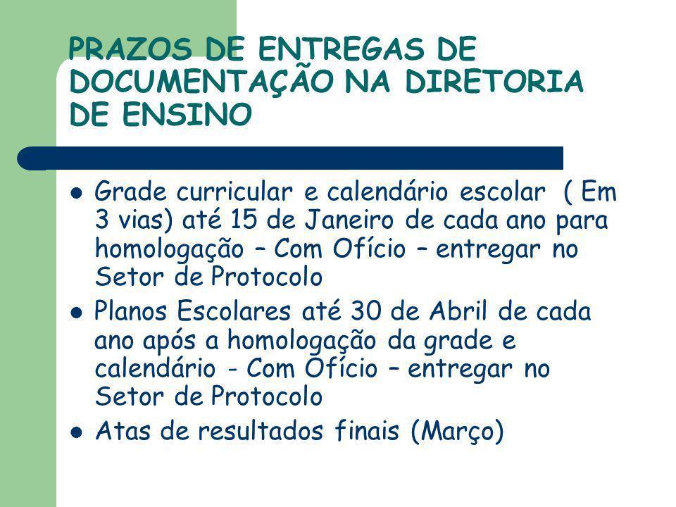 PRAZOS DE ENTREGAS DE DOCUMENTAÇÃO NA DIRETORIA DE ENSINO Grade curricular e calendário escolar ( Em 3 vias) até 15 de Janeiro de cada ano para homolo