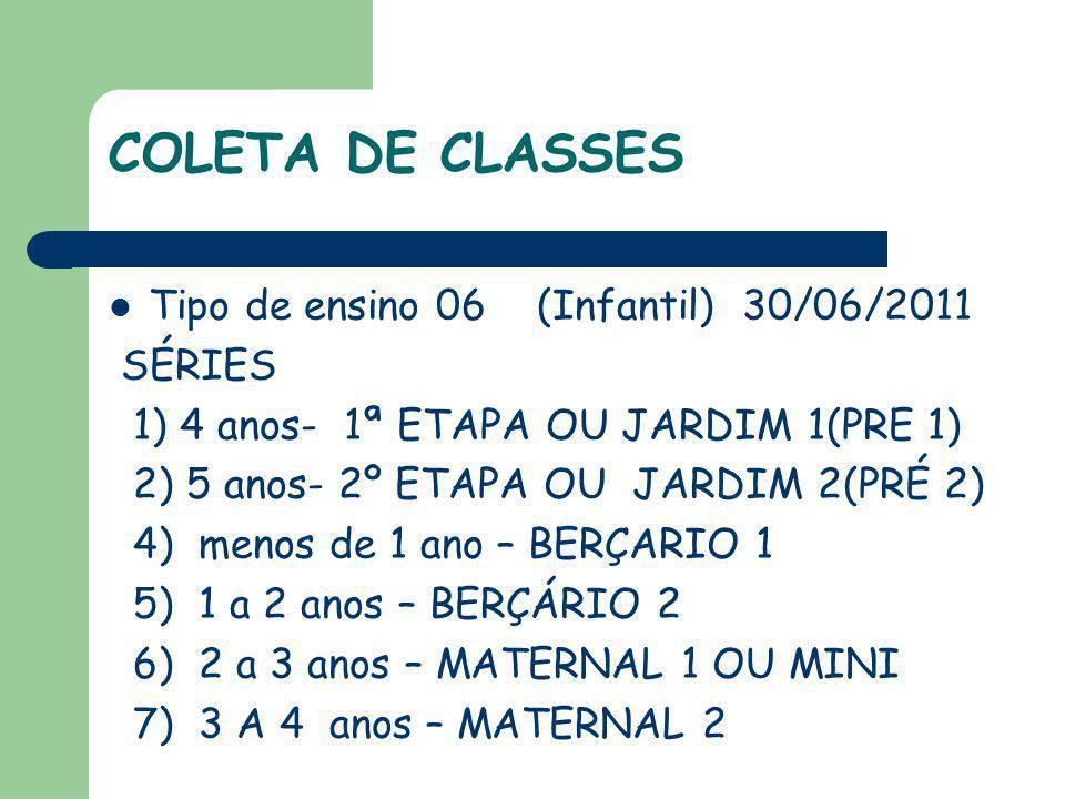 COLETA DE CLASSES Tipo de ensino 06 (Infantil) 30/06/2011 SÉRIES 1) 4 anos- 1ª ETAPA OU JARDIM 1(PRE 1) 2) 5 anos- 2º ETAPA OU JARDIM 2(PRÉ 2) 4) meno