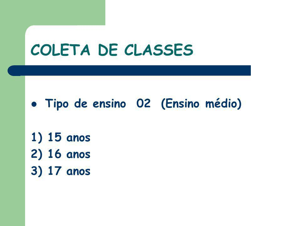 COLETA DE CLASSES Tipo de ensino 05 ( Ensino médio EJA) 18 anos Tipo de Ensino 23 ( Profissional \ Técnico Concomitante) Fazendo Ensino Médio regular Tipo de Ensino 24 (Técnico Subseqüente) Concluiram o ensino médio