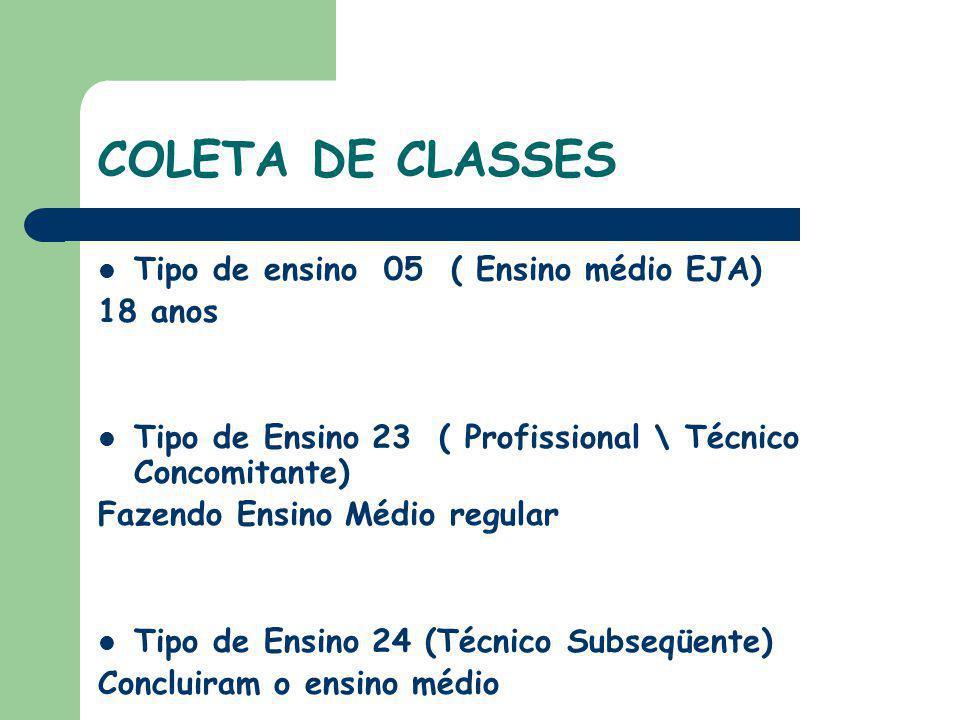 COLETA DE CLASSES Tipo de ensino 05 ( Ensino médio EJA) 18 anos Tipo de Ensino 23 ( Profissional \ Técnico Concomitante) Fazendo Ensino Médio regular