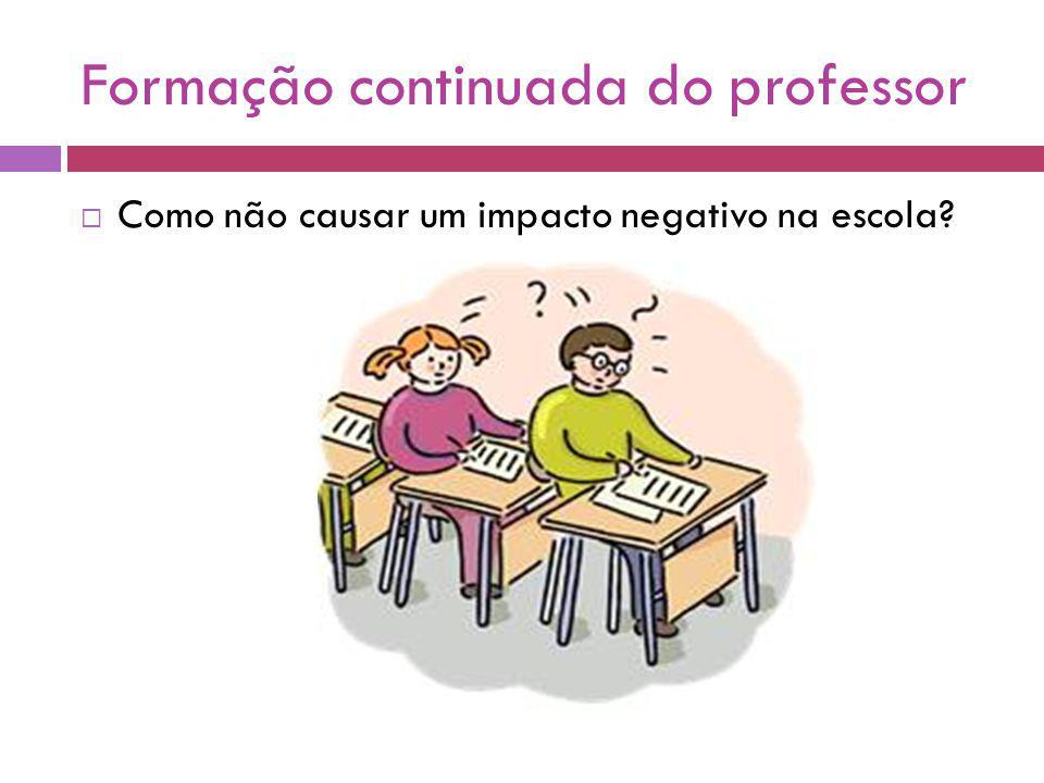 Formação continuada do professor Como não causar um impacto negativo na escola?
