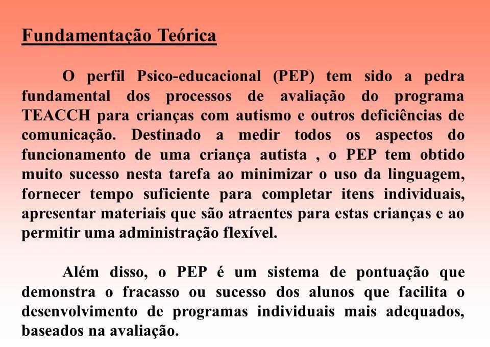 AAPEP (Perfil Psico-Educacional para Adolescentes e Adultos) Este instrumento está dividido em 3 etapas: Escala Observador Escala Escola Escala Casa.
