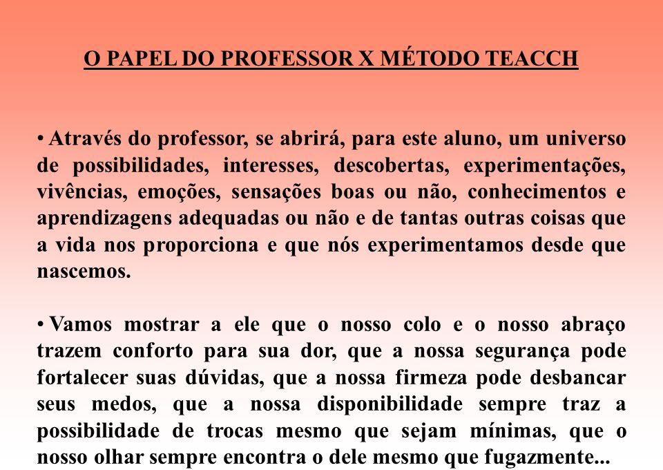 O PAPEL DO PROFESSOR X MÉTODO TEACCH Falo de um profissional privilegiado como poucos, pois raramente a vida lhe proporcionará outra oportunidade como