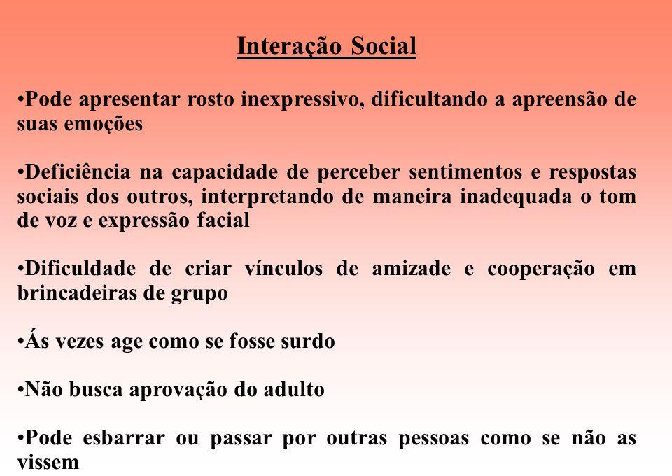 Transtorno Autista Comprometimento nas seguintes áreas: Interação social Linguagem e comunicação Comportamento Interação Social Isolamento em graus va