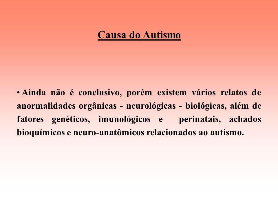 Causa do Autismo Ainda não é conclusivo, porém existem vários relatos de anormalidades orgânicas - neurológicas - biológicas, além de fatores genéticos, imunológicos e perinatais, achados bioquímicos e neuro-anatômicos relacionados ao autismo.