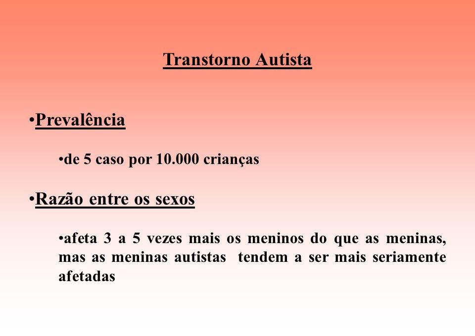 Transtorno Autista Prevalência de 5 caso por 10.000 crianças Razão entre os sexos afeta 3 a 5 vezes mais os meninos do que as meninas, mas as meninas autistas tendem a ser mais seriamente afetadas