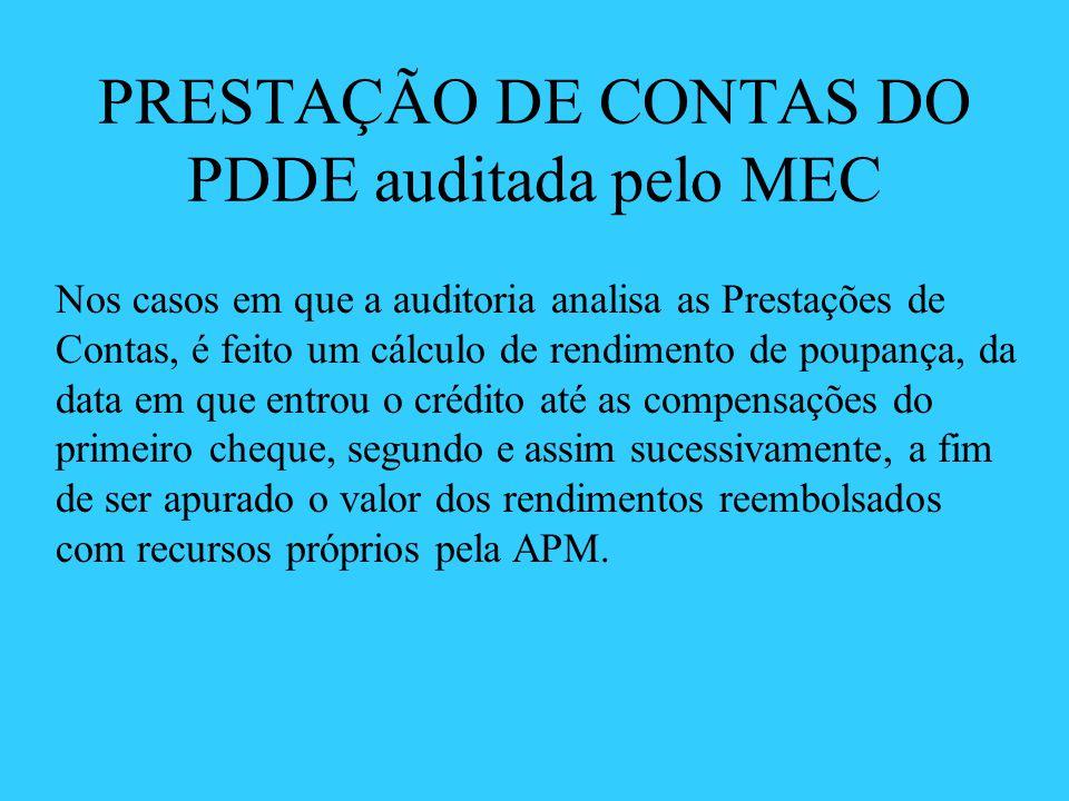 PRESTAÇÃO DE CONTAS DO PDDE auditada pelo MEC Nos casos em que a auditoria analisa as Prestações de Contas, é feito um cálculo de rendimento de poupan