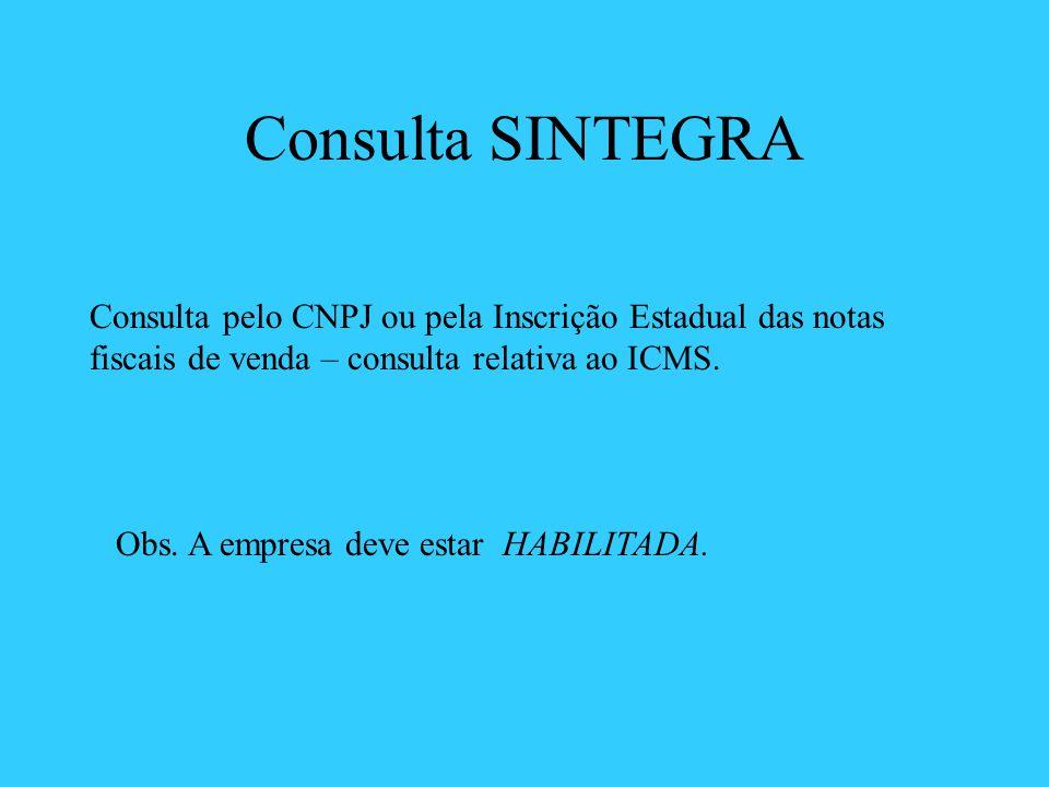 Consulta SINTEGRA Consulta pelo CNPJ ou pela Inscrição Estadual das notas fiscais de venda – consulta relativa ao ICMS. Obs. A empresa deve estar HABI