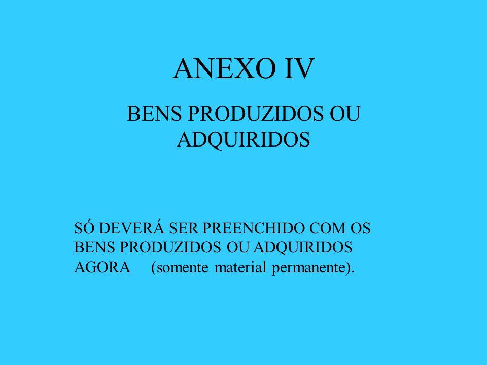 ANEXO IV BENS PRODUZIDOS OU ADQUIRIDOS SÓ DEVERÁ SER PREENCHIDO COM OS BENS PRODUZIDOS OU ADQUIRIDOS AGORA (somente material permanente).