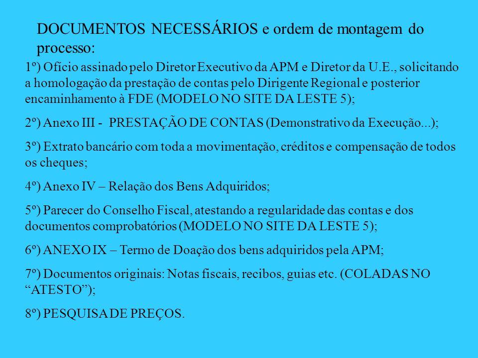 DOCUMENTOS NECESSÁRIOS e ordem de montagem do processo: 1º) Ofício assinado pelo Diretor Executivo da APM e Diretor da U.E., solicitando a homologação