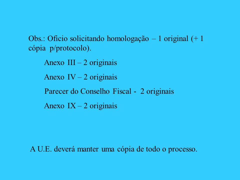 Obs.: Oficio solicitando homologação – 1 original (+ 1 cópia p/protocolo). Anexo III – 2 originais Anexo IV – 2 originais Parecer do Conselho Fiscal -