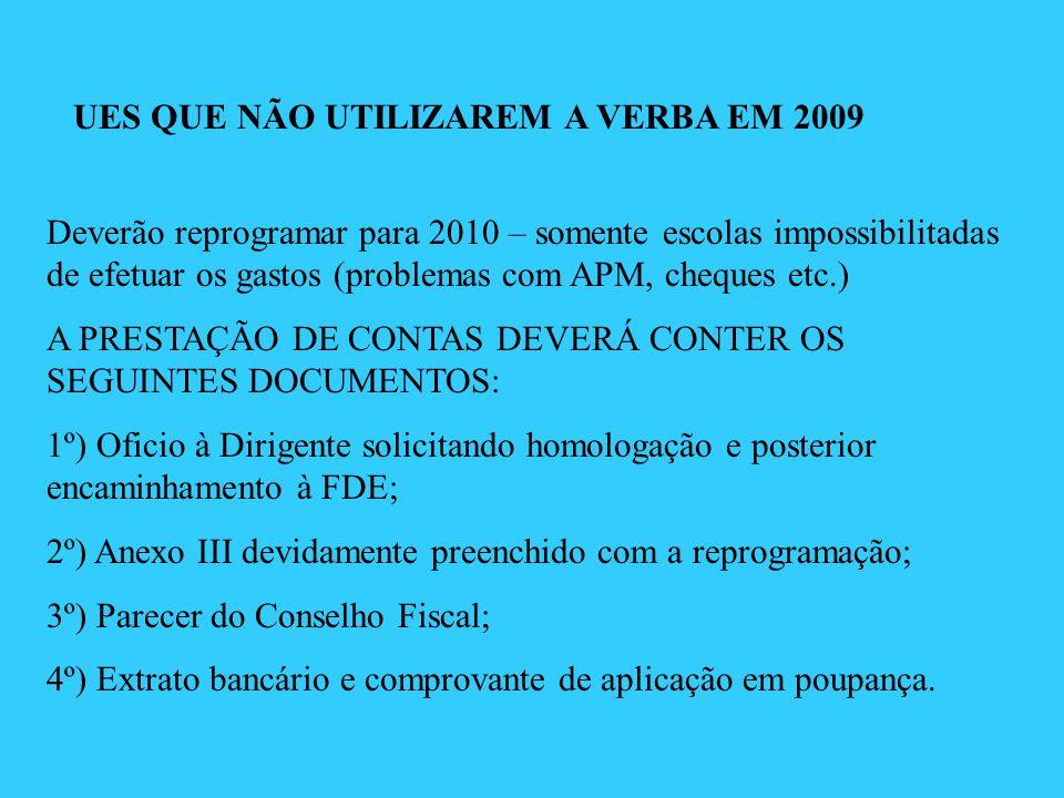 UES QUE NÃO UTILIZAREM A VERBA EM 2009 Deverão reprogramar para 2010 – somente escolas impossibilitadas de efetuar os gastos (problemas com APM, chequ