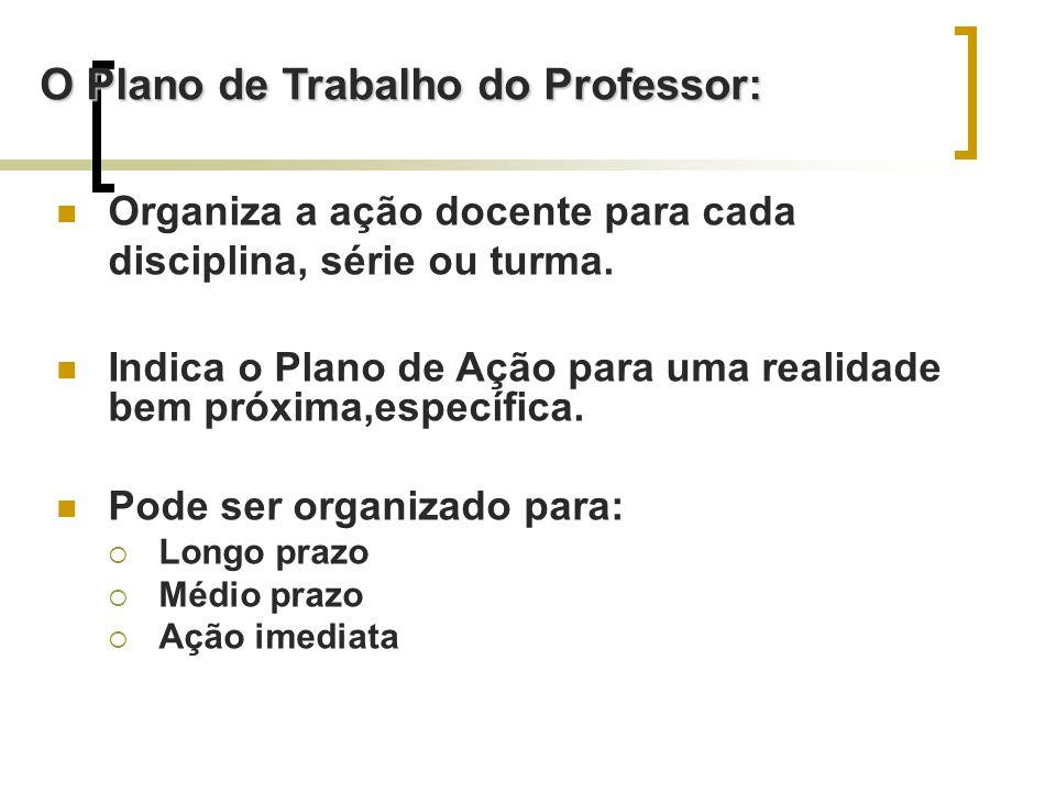 O Plano de Trabalho do Professor: Organiza a ação docente para cada disciplina, série ou turma.