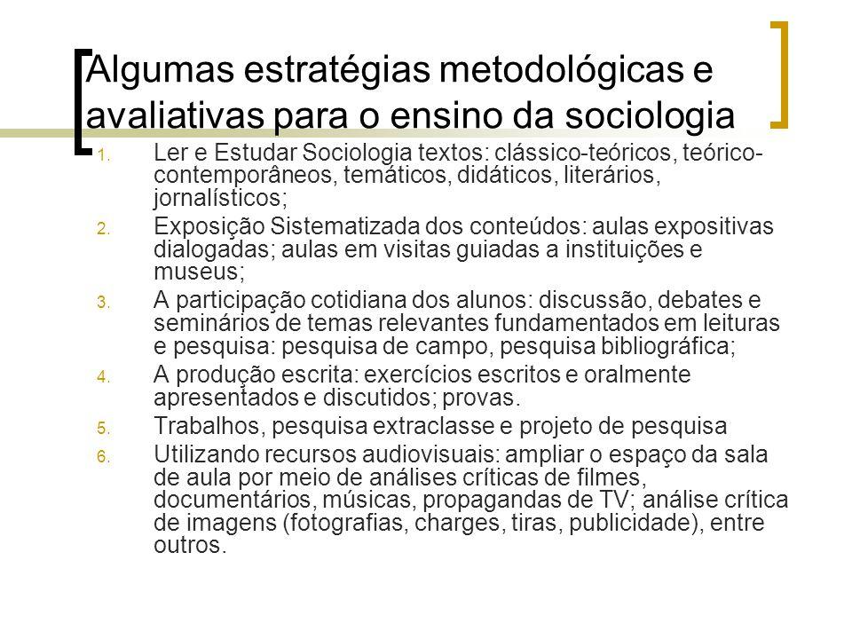 Algumas estratégias metodológicas e avaliativas para o ensino da sociologia 1. Ler e Estudar Sociologia textos: clássico-teóricos, teórico- contemporâ