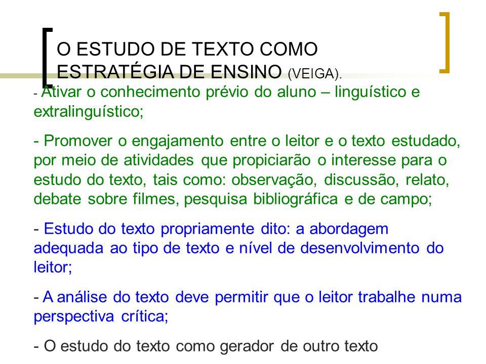 O ESTUDO DE TEXTO COMO ESTRATÉGIA DE ENSINO (VEIGA). - Ativar o conhecimento prévio do aluno – linguístico e extralinguístico; - Promover o engajament