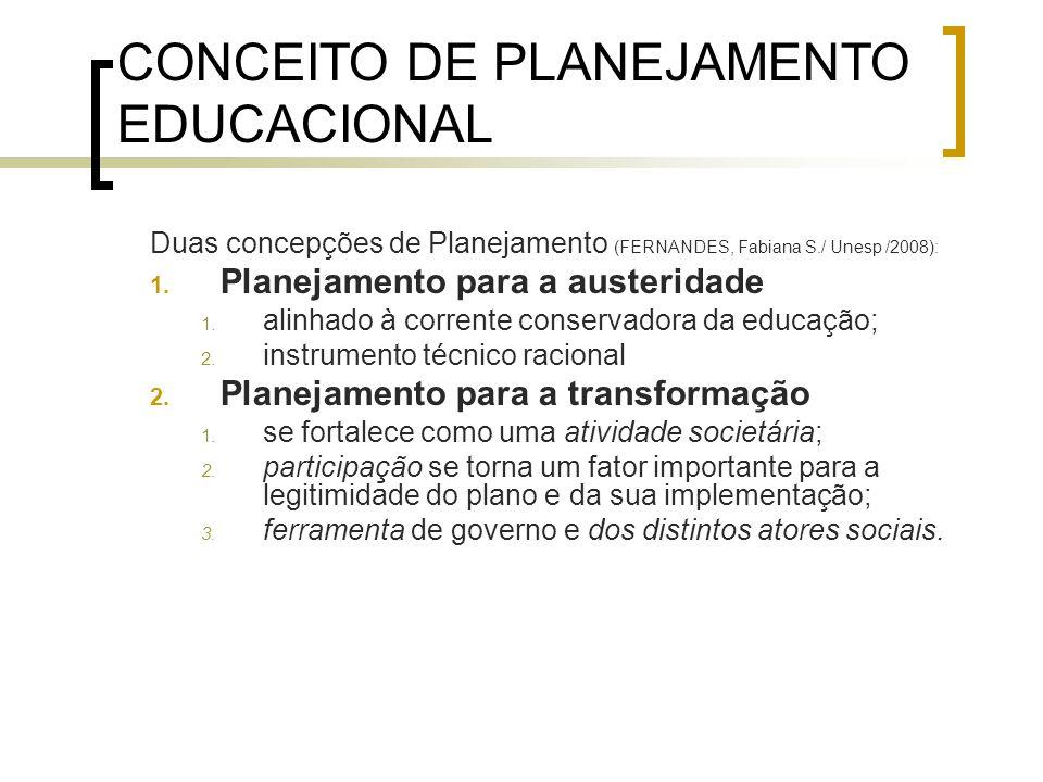CONCEITO DE PLANEJAMENTO EDUCACIONAL Duas concepções de Planejamento (FERNANDES, Fabiana S./ Unesp /2008): 1. Planejamento para a austeridade 1. alinh